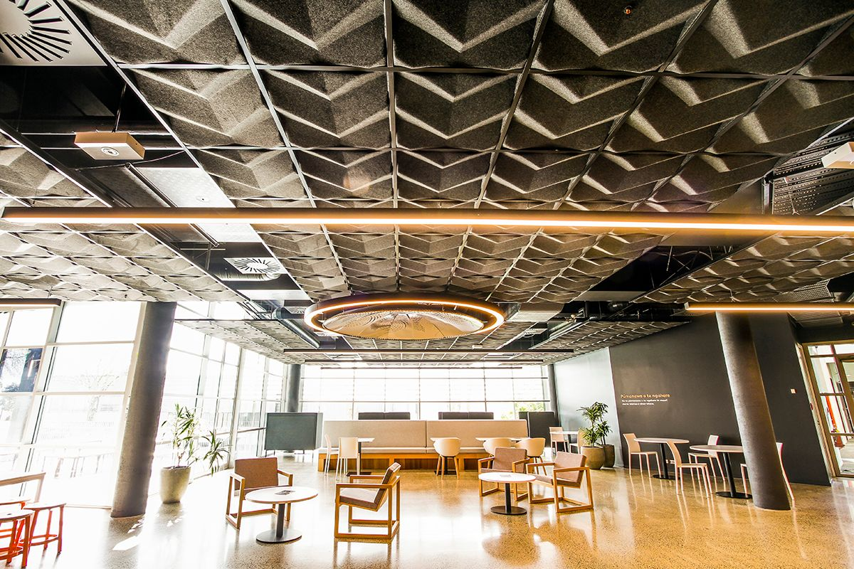 600x600 Ceiling Tiles >> T&R Interior Systems - FOCUS 3D Acoustic Tiles - Suspended