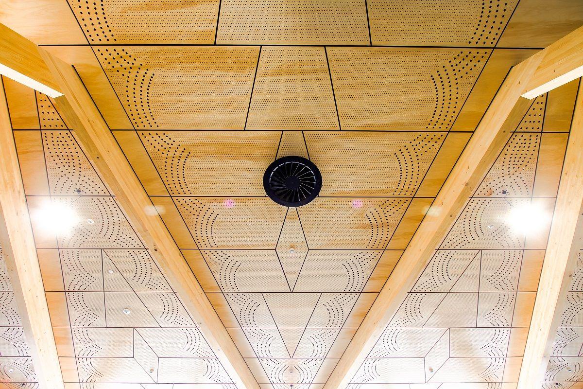Perforated Timber Panel Ceiling at Tauranga Airport